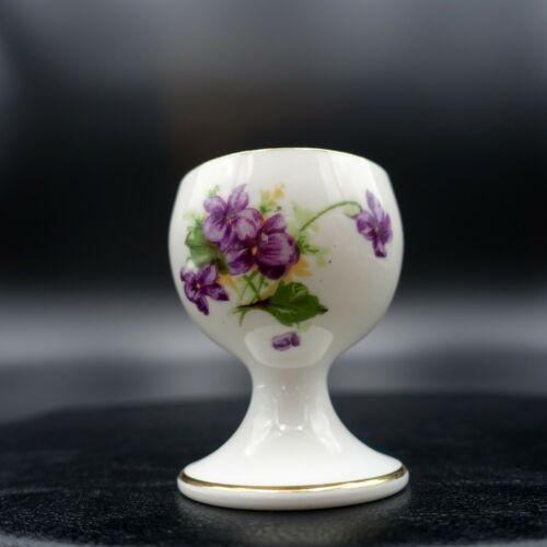 Vintage ROYAL CHELSEA  Violets w GOLD TRIM EGG CUP HOLDER