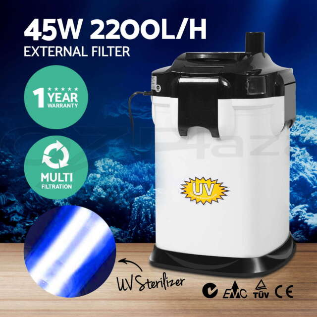 Aqua Aquarium Filter External Canister Fish Tank Water Sponge UV Bulb 2200LPH WH