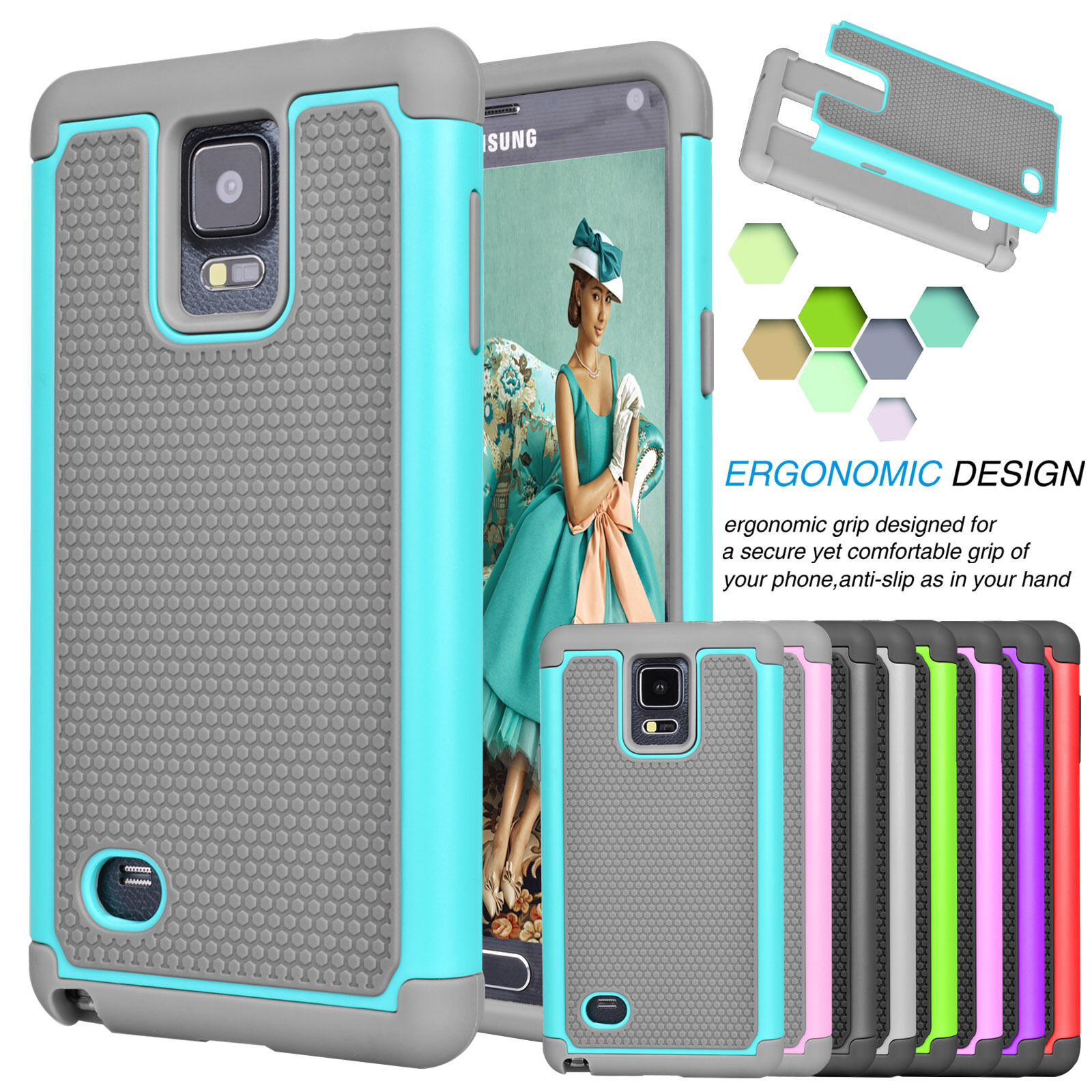 Купить Saveupmore - For Samsung Galaxy Note 4 Armor Shockproof Hybrid Rugged Rubber Hard Case Cover