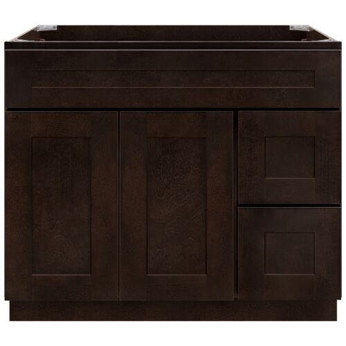 """36"""" Vanity Sink Base Cabinet with Right Drawers Espresso Shaker by LessCare"""