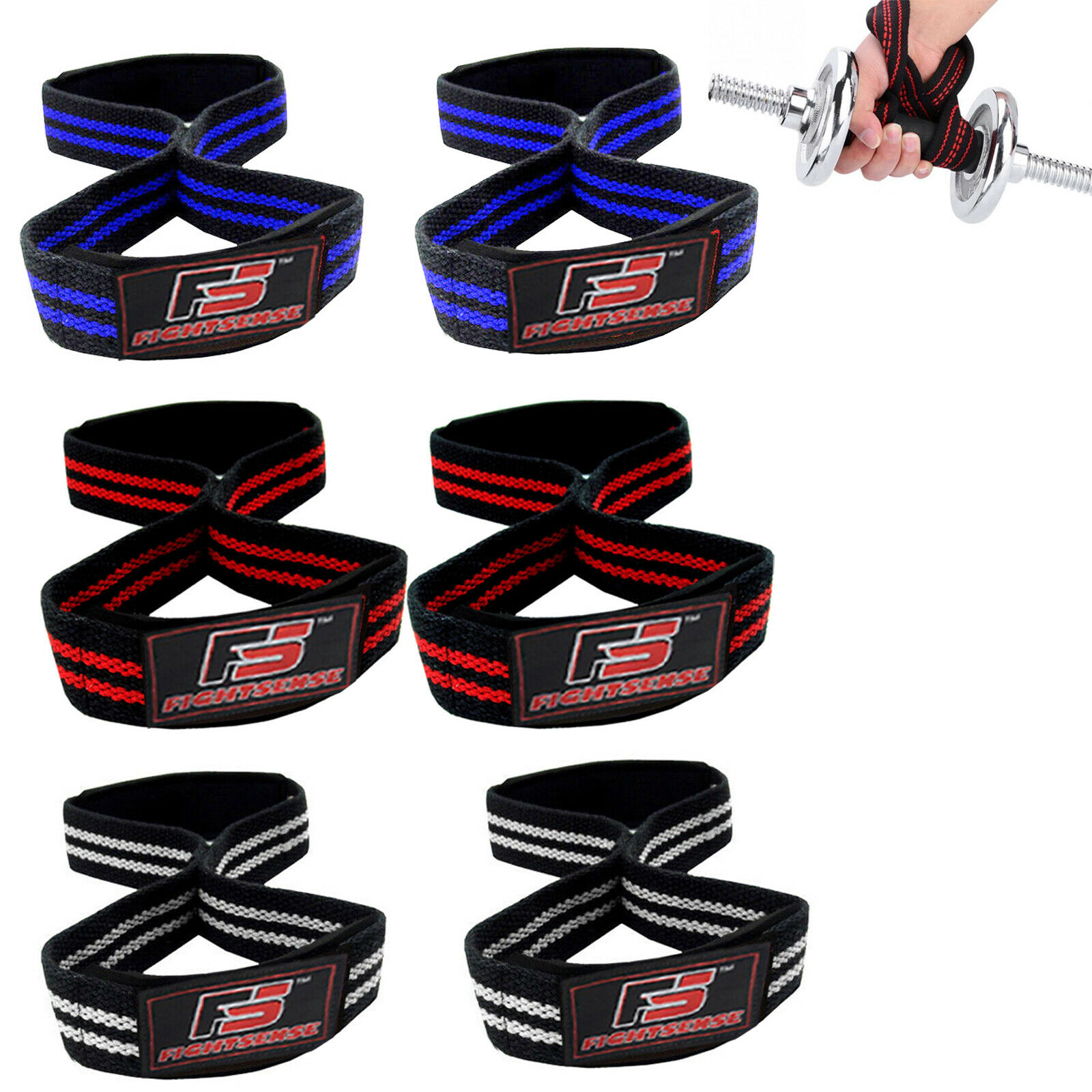 FS Figure 8 Padded Cuff Weight Lifting Training Gym Straps H