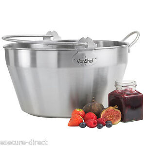 VonShef High Quality Stainless Steel Maslin Preserving Jam Making Pan 9 litre