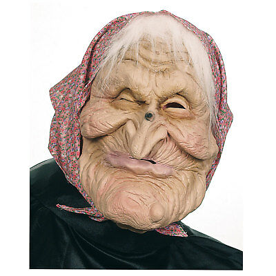 Maske alte Frau mit Kopftuch Haare Hexenmaske Halloweenmaske Karneval Hexe Larve