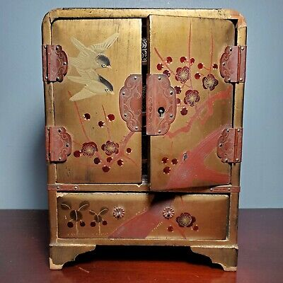 Antique Vantines Japanese Wooden Lacquer Hand Painted Jewelry Box Armoire