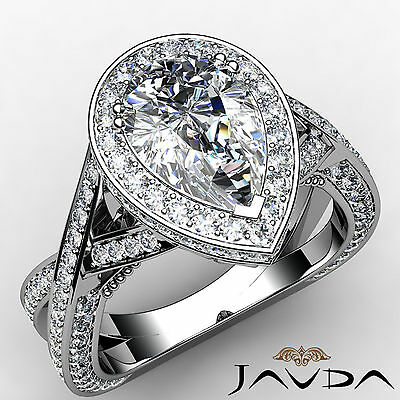 Cross Shank Milgrain Edge Halo Pear Cut Diamond Engagement Ring GIA G VS2 2.45Ct