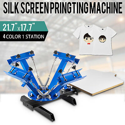 T-shirt 4 Color Screen Printing Press Machine Silk Screening Pressing 1 Station