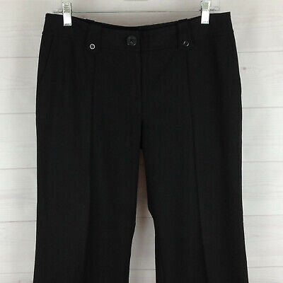 Ann Taylor Lindsay womens size 8P stretch black flat front straight dress pants