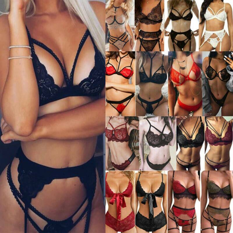Women Sexy Lingerie Lace Top Bra Thong Underwear Nightwear Bodysuit Sleepwear Bodysuits