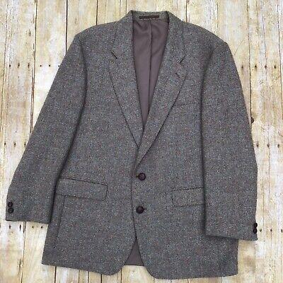 Harris Tweed Mens Brown Blazer Sports Coat Jacket 44R 100% Wool Single Vent