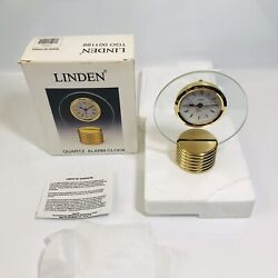 Vintage Linden Gold Tone Quartz Table Desk Alarm Clock NEW TGO-001199