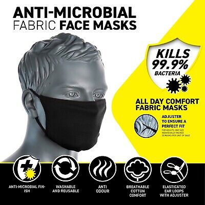 New Portwest CV33 Fabric Anti-Microbial Soft Face Mask BLACK Washable & Reusable