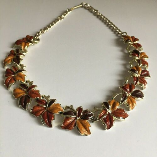 Vintage Jewelcraft Coro Enamel Autumn Leaves Necklace Goldtone 50/60s Sculptural