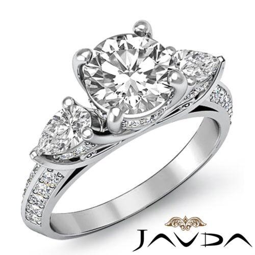 2.21ct Round Diamond Gorgeous Engagement 3 Stone Ring GIA F VVS2 14k White Gold