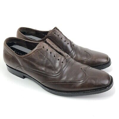 John Varvatos Brown Leather Wingtip Oxford Dress Shoes Size 9 Lace Up Vibram John Brown Oxford