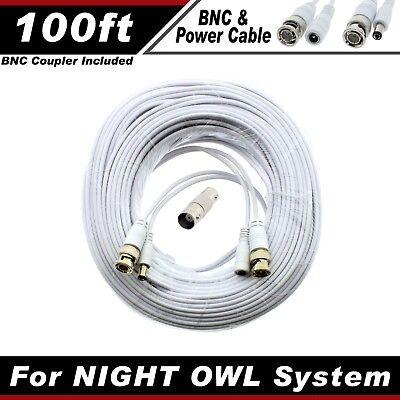 PREMIUM 100Ft HIGH QUALITY THICK BNC EXTENSION CABLES FOR NIGHT OWL SYSTEM WITHE