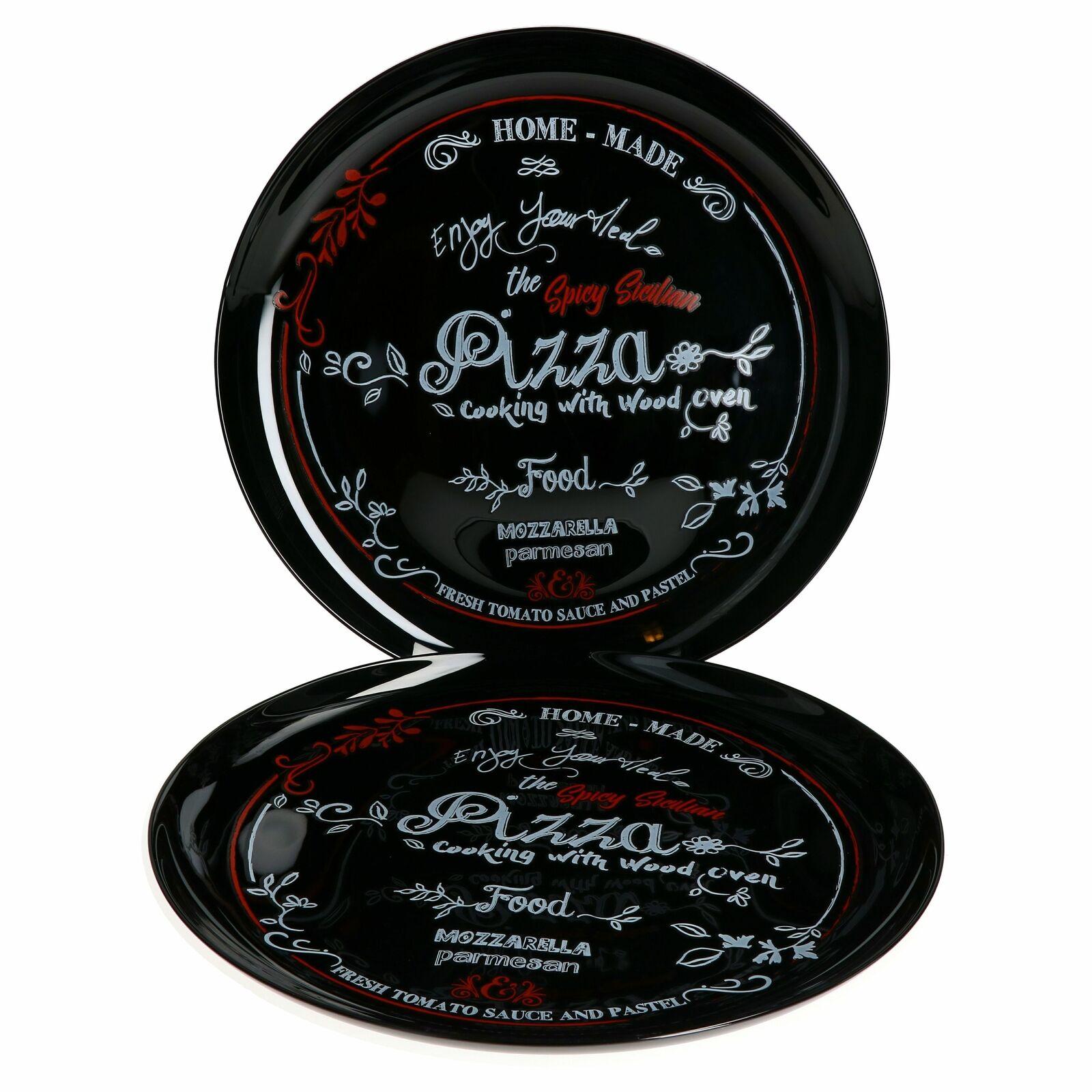 2x Pizzateller Nero schwarz Glas Ø 32cm groß Teller Aufschrift Rot Weiß Pizzen