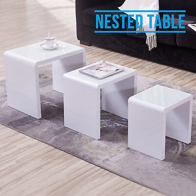 Modern White Glass Table Top Coffee Table High Gloss Nest of 3 Units Furniture