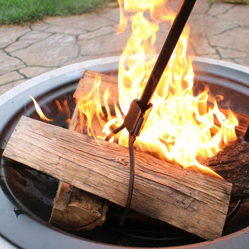"Sunnydaze Log Grabber 36"" Spring-Loaded Black Steel Heavy-Duty Firewood Claw"