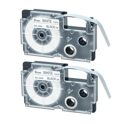 2pk Xr-9we Black On White Label Tape For Casio Kl-60 100 7000 8200 8800 38 9mm