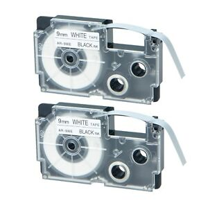 2PK XR-9WE Black on White Label Tape for Casio KL-780 750B 7200 1500 3/8