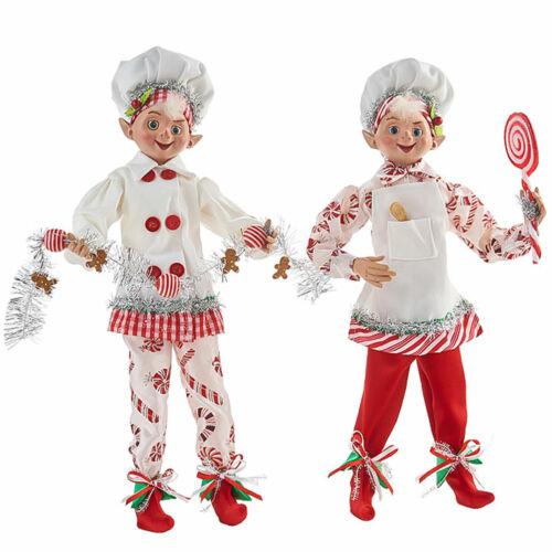 "Set/2 16"" RAZ Imports Posable Baker Elf Candy Cane Kitchen Christmas Doll Decor"