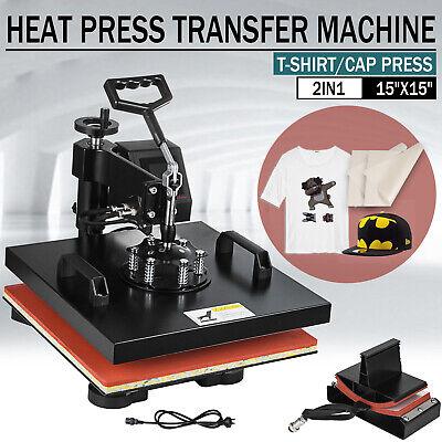 Led 15x15 2 In 1 Heat Press Machine Swing Away Digital Sublimation T-shirt Hat