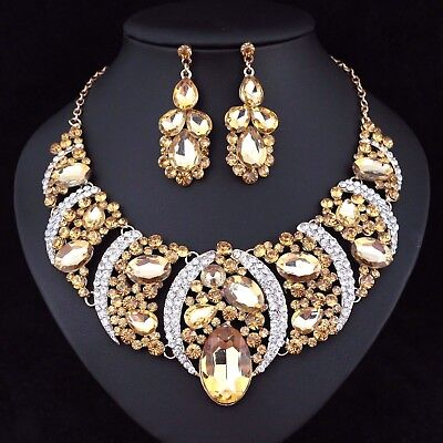 Party Austrian Crystal Rhinestone Necklace - Sexy Austrian Rhinestone Crystal Bib Necklace Earrings Set Prom Wed Party N48g