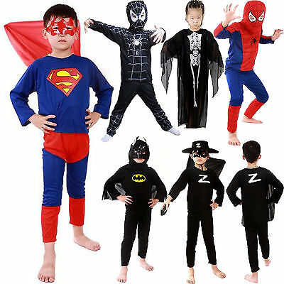 Kids Cartoon Hero Batman Spiderman Boys Girls Dress Up Party Cosplay - Batman Costumes Boys