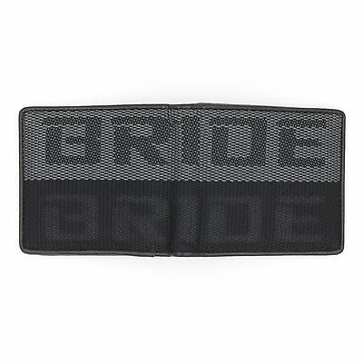 JDM Bride Custom Stitched B/G Racing Fabric Bifold Wallet Leather Gradate Men