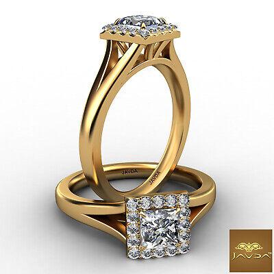 Halo Split Shank Princess Diamond Engagement French U Pave Ring GIA E VS2 0.7Ct