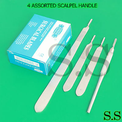 4 Assorted Scalpel Knife Handle 3 100 Surgical Sterile Dissecting Blades 10