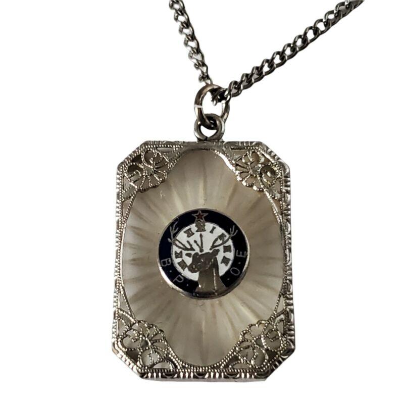 Vintage Estate BPOE Elks Club Camphor Glass & Enamel Necklace