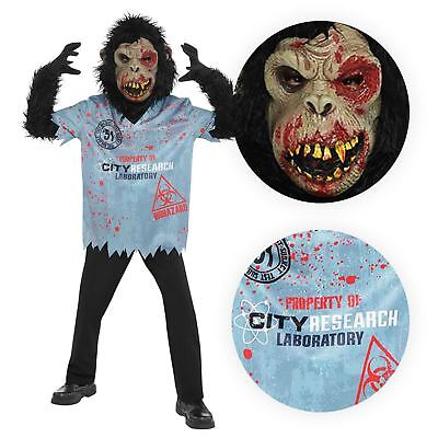 Child Chimp Zombie Costume Monster Halloween Horror Fancy Dress Outfit Boys