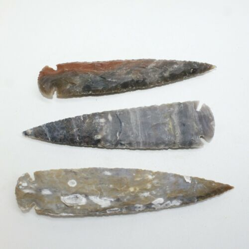 3 Stone Ornamental Spearheads  #0119  Arrowhead