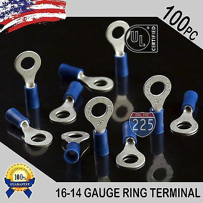 100 Pack 16-14 Gauge 14 Stud Insulated Vinyl Ring Terminals Tin Copper Core Us