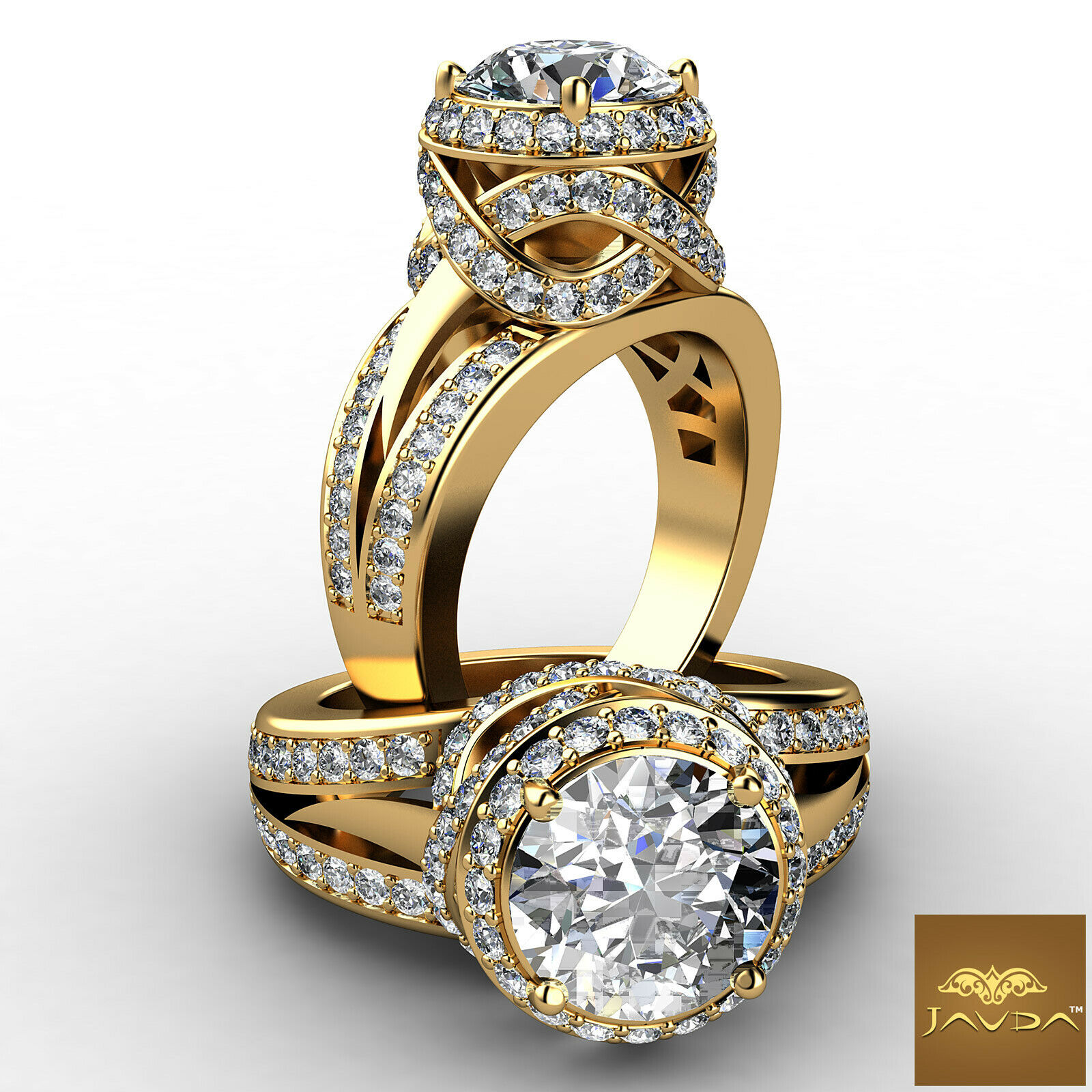 Antique Style Halo Round Diamond Engagement Ring GIA F VS2 18k Yellow Gold 2.8ct