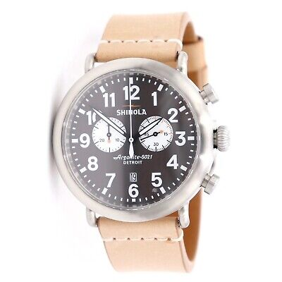 Shinola Runwell Contrast Chrono Gray Dial Brown Leather 47mm Mens Watch 11000172