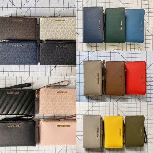 NWT Michael Kors Women Jet Set Travel Large Double Zip Phone Wristlet Wallet