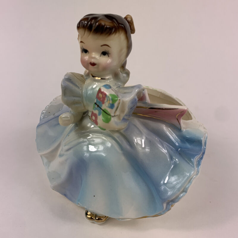 Vintage 1959 Rubens Originals Japan Girl In Blue Dress Planter Marked 502 EUC
