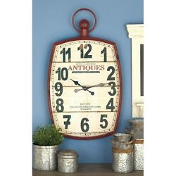 Retro Wall Clock Modern Farmhouse Large Barn Red Metal Wood Old Decor Antiques