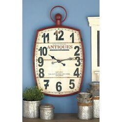 Retro Wall Clock Modern Farmhouse Large Barn Red Metal Wood Old Decor Antiques