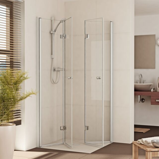 Duschkabine Duschabtrennung Dusche Eckeinstieg Eckdusche Falttür Glas nach Maß