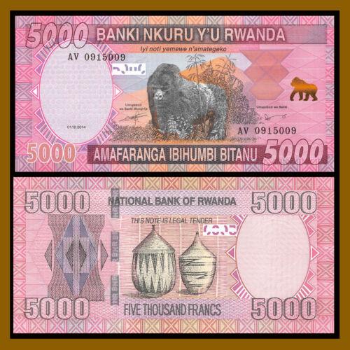 Rwanda 5000 (5,000) Francs, 2014 P-41 Gorilla Unc