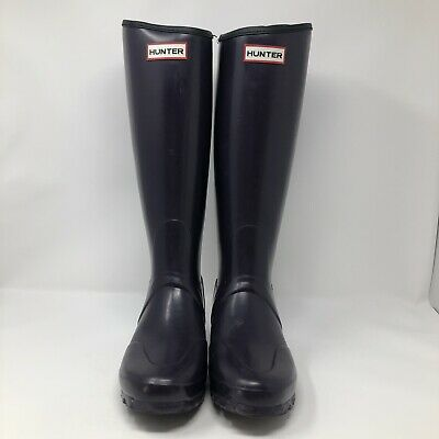 Hunter Womens Original Tall Rain Boot Equestrian Boot Dark Purple Size 5M RARE! Purple Rain Boot