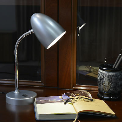 - Mainstays LED Desk Lamp Silver Adjustable Neck Low Energy College Dorm School