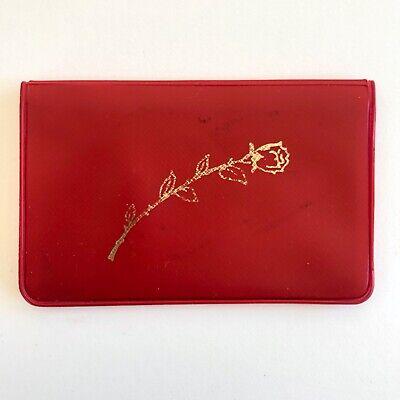 Vintage Red Plastic Business Card Holder W Gold Rose Printed On Front