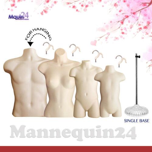 MALE FEMALE CHILD & TODDLER FLESH TORSO MANNEQUIN SET + 4 HANGERS + 1 STAND