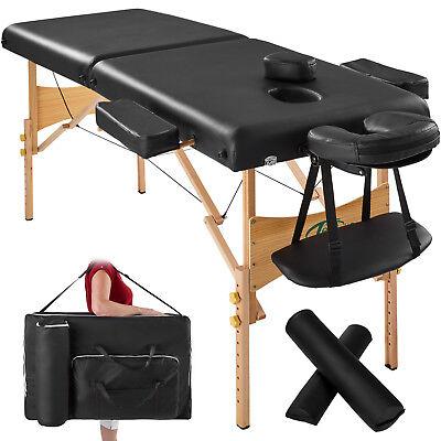 Massagetisch Massagebank Massageliege 2 Zonen + Lagerungrollen SCHWARZ + Tasche