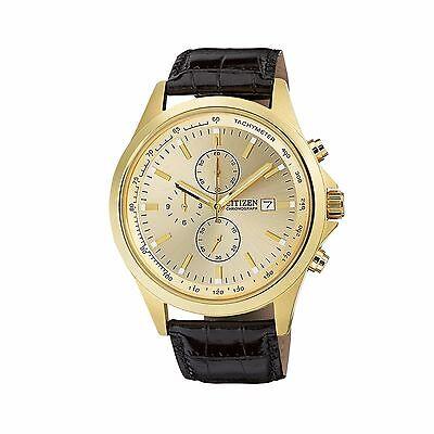 Citizen Quartz Men's AN3512-03P Chronograph Gold Tone Black Leather Strap Watch