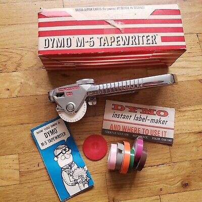 Vintage Dymo M-5 Tapewriter Label Maker Embossing Original Box Colored Tapes